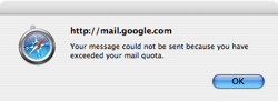 """Your message could not be sent because you have exceeded your mail quota."""